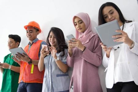 Portrait of various professions with technology