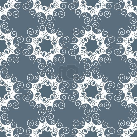 Illustration for Monochrome seamless pattern. Abstract geometric background with hexagonal motif. Lace structure, decorative Wallpaper, elegant ornament for wrapping paper and other surfaces. - Royalty Free Image