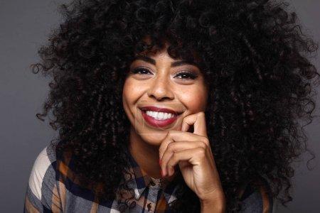 Portrait of a beautiful happy black woman...