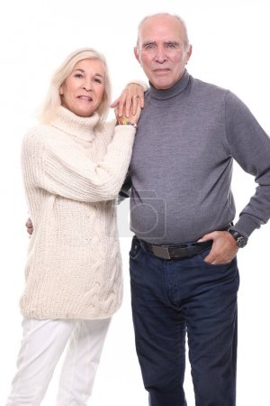 happy grandma and grandfather in front of a white background