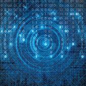 Abstraktní pozadí binární modré matrix tech