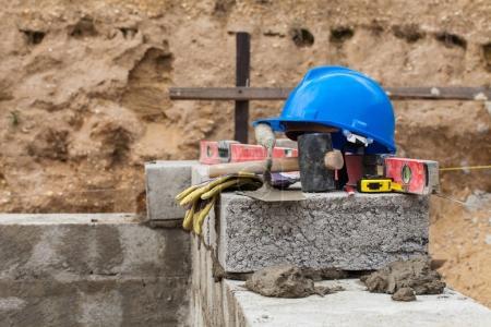 blue helmet and tools