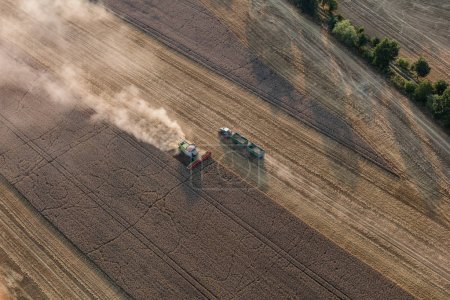 aerial view of the combine harvester