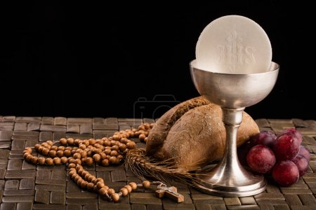 Christian communion composition on the table
