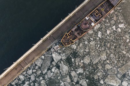 Photo for Aerial view of harbor with tanker in winter - Royalty Free Image