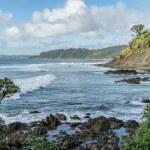 Wavy ocean with rocky coast on cloudy day, Leigh b...