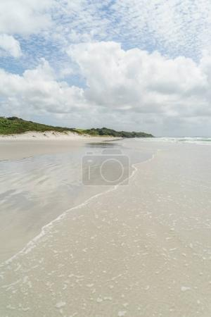 Photo for Empty seashore under blue sky with clouds, Rarawa beach, New Zealand - Royalty Free Image
