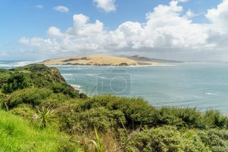 Photo for Aerial view of beautiful ocean coastline on sunny summer day, Omapere, New Zealand - Royalty Free Image