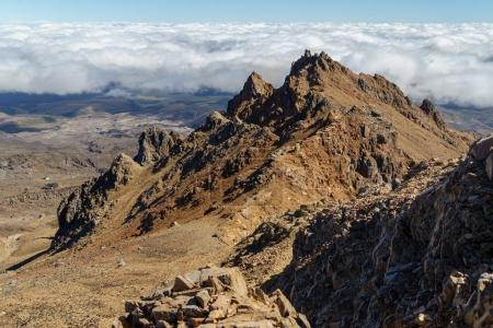 Photo pour Aerial view of rocky mountains on sunny day, Tongariro National Park, New Zealand - image libre de droit