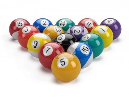 Billiard pool balls pyramid isolated on white - 3d illustration