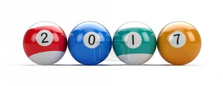 Billiard pool balls with 2017 numbers. 3d illustration