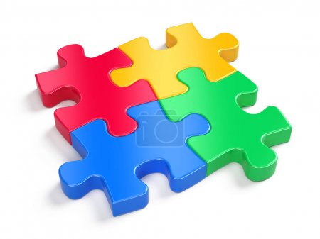 Foto de Cuatro rompecabezas de colores aislados en blanco concepto de asociación. 3d renderizar - Imagen libre de derechos
