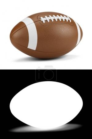 American football ball with opacity mask for easy remove background. 3d render