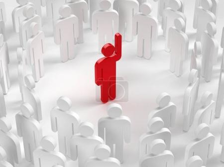 Leadership concept - Group of people and leader with hand up. 3d illustration