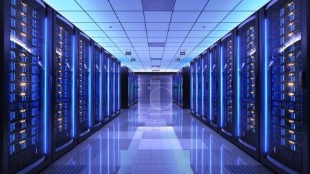 Photo pour Supports de serveur dans le centre de données de la salle des serveurs. 3d rendu - image libre de droit