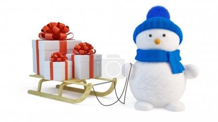 Snowman and sledge with gifts
