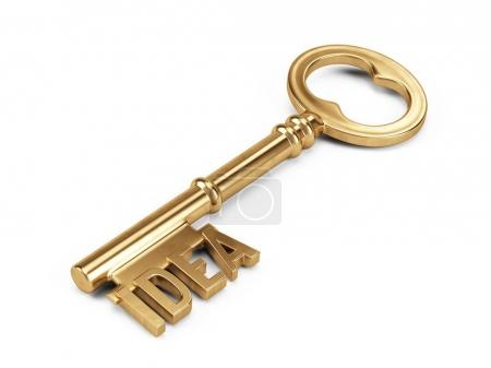 Gold Key to Success isolated on white
