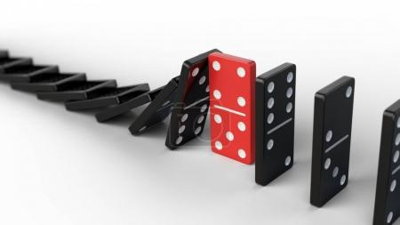 Leadership and teamwork concept - Red domino stops falling other dominoes