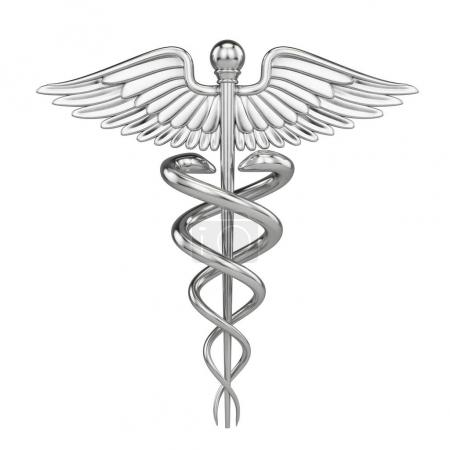 Photo for Silver metall Caduceus - medical symbol with isolated on white. 3d render - Royalty Free Image
