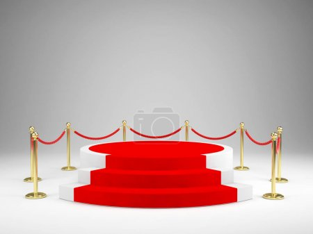Stage with red carpet for awards ceremony. Podium, Pedestal concept