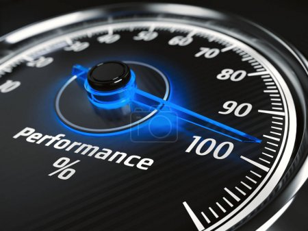 Performance level meter with arrow on 100%