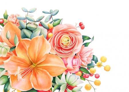 Photo pour Beau design floral avec aquarelle dessinée bouquet aux fleurs orange et roses, fruits rouges et feuilles à la main. Modèle de carte avec lily, rose, renoncules et autres fleurs. - image libre de droit