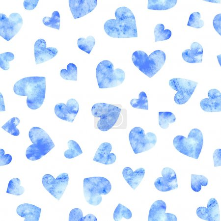 Photo for Seamless pattern with blue watercolor hearts on white background. Romantic design for wrapping paper, fabric, wedding, st. Valentine's day cards. - Royalty Free Image