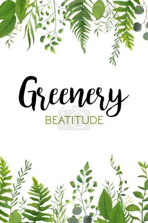 Vector floral greenery vertical card design: Fores...