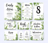 Wedding invite invitation menu rsvp thank you card vector floral greenery design: Forest fern frond Eucalyptus branch green leaves foliage herbs greenery berry frame border Watercolor template set
