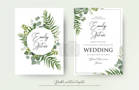 Illustration for Wedding Invitation, floral invite thank you, rsvp modern card Design: green tropical palm leaf greenery eucalyptus branches decorative wreath & frame pattern. Vector elegant watercolor rustic template - Royalty Free Image