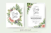 Floral Wedding Invitation elegant invite thank you rsvp card vector Design: garden pink peach Rose flower white wax succulent cactus plant green Eucalyptus tender greenery berry trendy bouquet