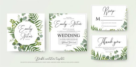 Illustration for Wedding Invitation, floral invite, thank you, rsvp modern card Design: green tropical palm leaf greenery, eucalyptus branches, foliage decorative frame print. Vector elegant watercolor rustic template - Royalty Free Image