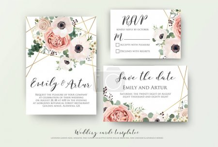 Illustration for Wedding invite, invitation, rsvp, save the date card design with elegant lavender pink garden rose anemone, wax flowers eucalyptus branches leaves, cute golden geometrical pattern. Vector template set - Royalty Free Image