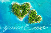 Tropical islands in the shape of heart and boat writing text