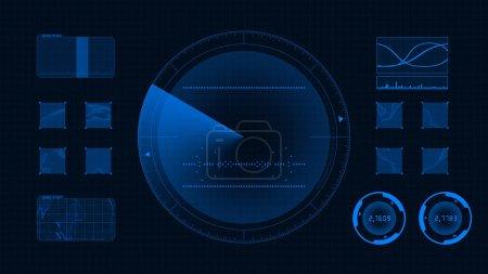 futuristische technologische Schnittstelle. blauer Hintergrund gui