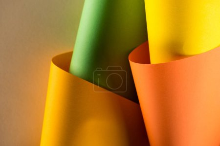 close-up shot of rolled colorful papers for background
