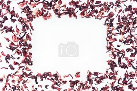 Photo for Top view of frame made with hibiscus tea isolated on white - Royalty Free Image