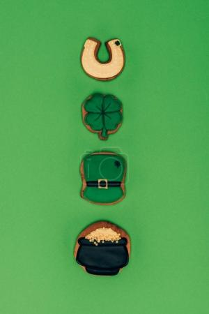 Photo for Top view of row of icing cookies, st patricks day concept - Royalty Free Image