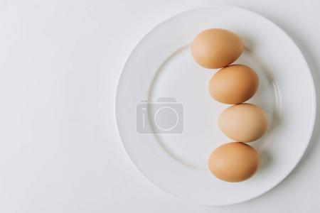 brown eggs laying on white plate on white background