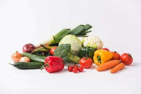 Photo for Various vegetables laying on white background - Royalty Free Image