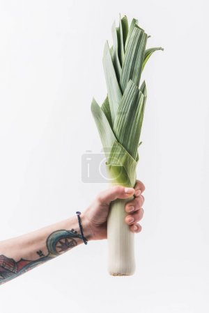 Photo for Hand holding green leek isolated on white background - Royalty Free Image