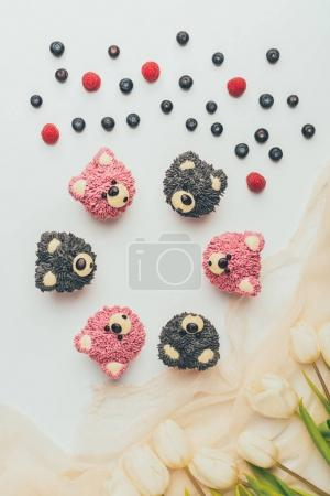top view of gourmet cupcakes in shape of bears, fresh berries and tulip flowers