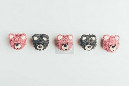 top view of delicious cupcakes in shape of bears isolated on grey