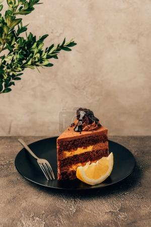 piece of delicious cake with chocolate and lemon on plate