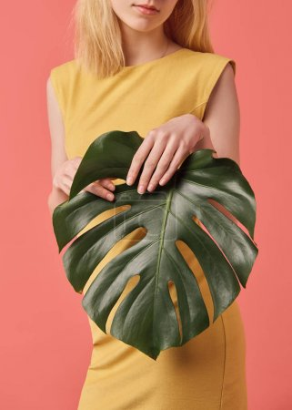 cropped shot of young woman with monstera leaf isolated on red