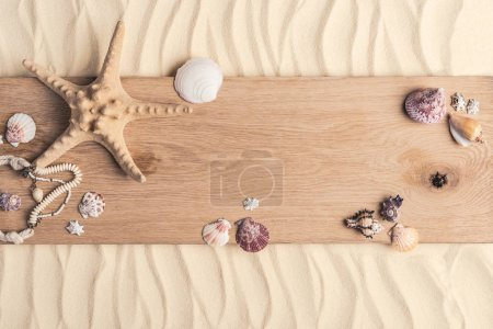 Photo for Summer travel template with seashells on wooden pier on light sand - Royalty Free Image
