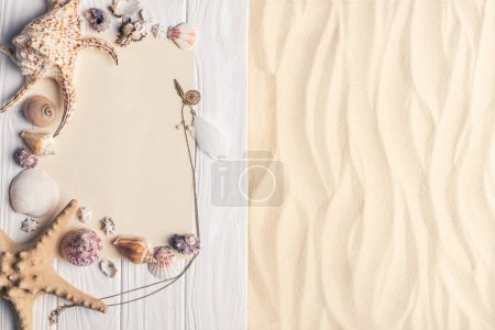 Summer travel template with seashells on light sand