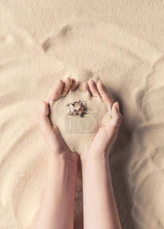 Female hands holding sea shell on light sand