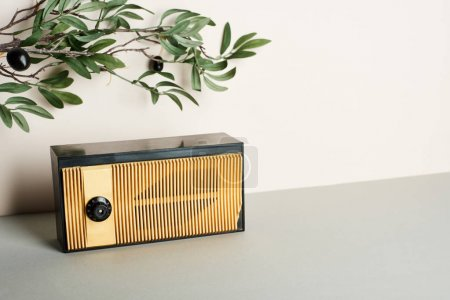 Photo for Vintage radio with olive branch on white background - Royalty Free Image
