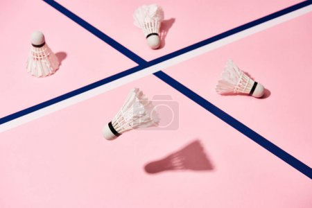 Badminton shuttlecocks with shadow on pink background with blue lines